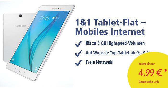 1und1 Tablet-Flat nur 4,99 Euro