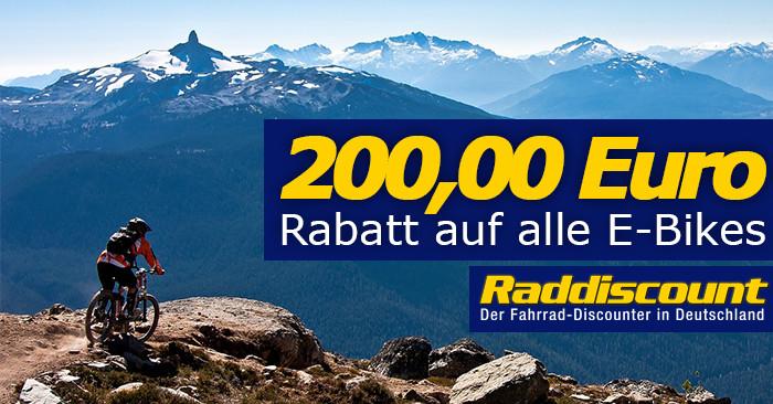 200 Euro Raddiscount Gutschein für EBikes