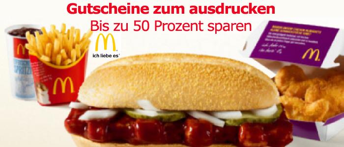 Bis zu 50 Prozent sparen mit Coupons zum Ausdrucken für McDonalds
