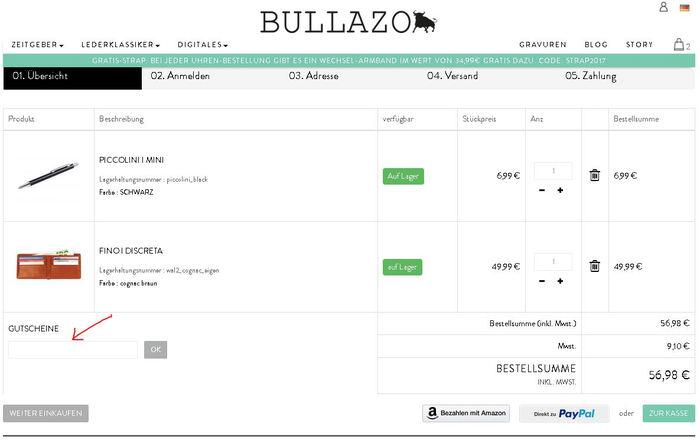 Bullazo Gutscheincode einlösen