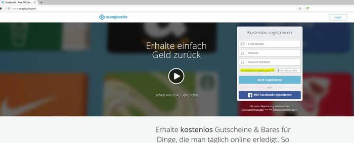 Swagbucks Gutschein als Swagbucks Anmeldecode eingeben