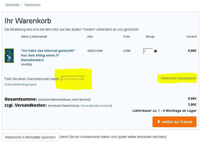 Terrashop Gutscheincode einlösen - Anleitung